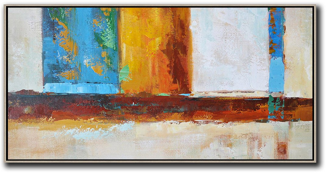 Custom Oil Painting,Horizontal Palette Knife Contemporary Art,Contemporary Canvas Paintings,Gret,Blue,Yellow,Orange,Brown.etc